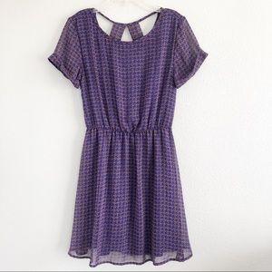 Dee Elle Purple Patterned Dress Sz medium